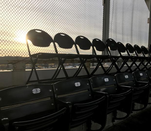 The sun sets over Cleveland's Progressive Field by Arturo Pardavila III